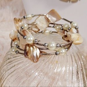 Vintage Gemstone Silvertone Spiral Wrap Bracelet